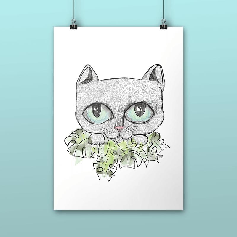 Pôster Gato nos Arbustos